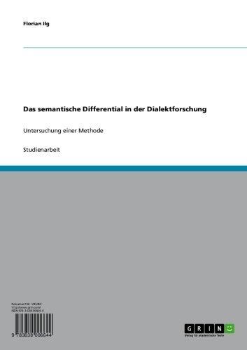 Das semantische Differential in der Dialektforschung: Untersuchung einer Methode