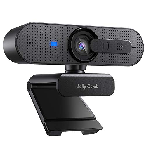 Jelly Comb 1080P HD Webcam mit Objektivdeckel, Streaming Webkamera mit Autofokus/Stereo...