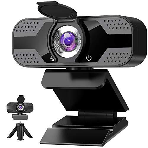 Webcam mit mikrofon 1080P Full HD mit Webcam Abdeckung, USB Webcam mit Stativ, Mini Plug...