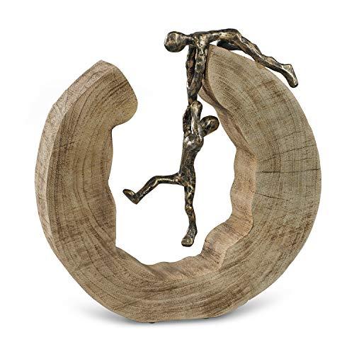 Moritz Skulptur Teamwork Teamarbeit Mangoholz Alu Massive Mangoholz-Baumscheibe Handarbeit...